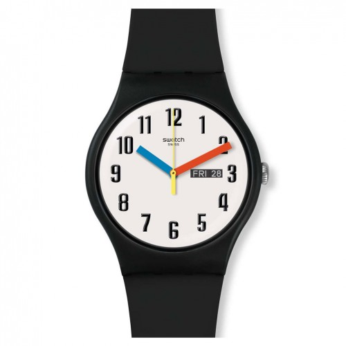 Swatch New Gent ELEMENTARY watch Black White dial SUOB728