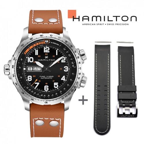 Bundle Offer Hamilton Khaki Aviation watch H77755533+Black rubber strap