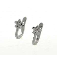 Communion gold earrings white flowers 79333