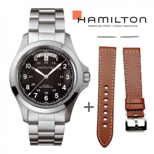 Bundle Offer Hamilton Khaki King H64455133 watch+brown leather strap
