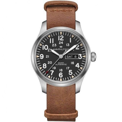Hamilton Khaki Field Day Date Auto H70535531 Black dial Leather strap