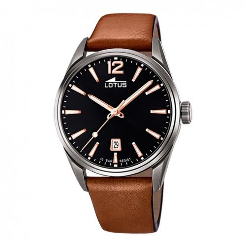 Lotus Men's watch Black dial 42 mm brown leather strap 18685/2