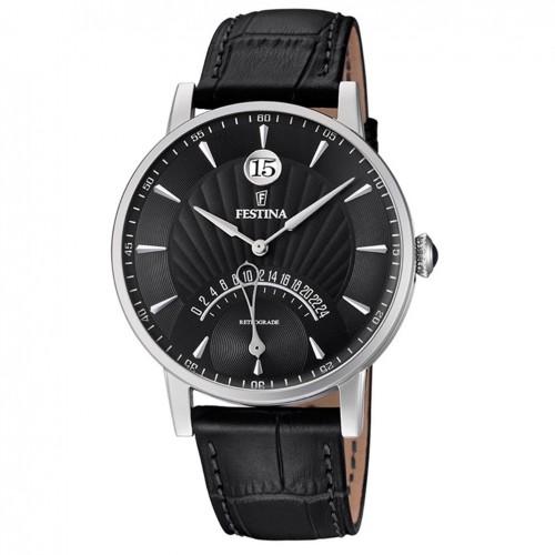 Festina Man watch Black dial 41 mm black leather strap F16984/4