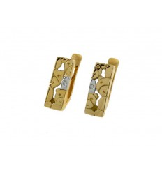 Communion gold earrings yellow and gold white bears 78826