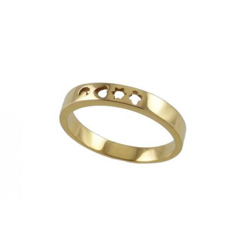 Communion gold ring yellow estrella-luna - 7912-A heart