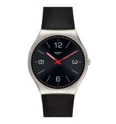 Swatch Irony SKINBLACK watch black color leather strap SS07S100