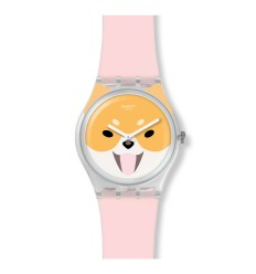 Swatch Originals Gent watch AKITA INU pink silicone strap GE279
