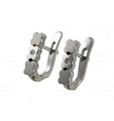 White communion gold earrings 3 flowers 78735-K