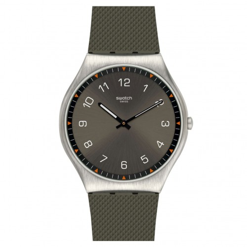Swatch Irony SKINEARTH watch green dial green rubber strap SS07S103