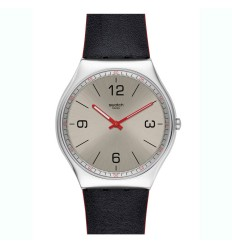 Swatch Irony SKINMETAL watch silver dial leather strap SS07S104