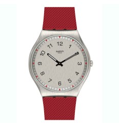 Swatch Irony watch SKINROUGE 42 mm red silicone strap SS07S105