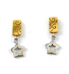 Communion earrings gold yellow and white gold star R78831