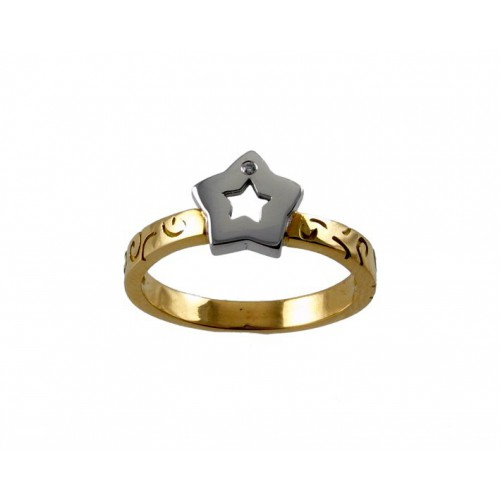 Communion gold ring yellow and white gold star 78831-A
