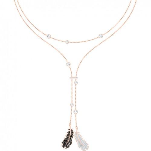 Naughty Swarovski necklace black and white rose gold plating 5495290