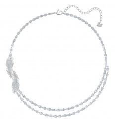 Nice Swarovski feathers necklace white crystals rhodium plating 5493404