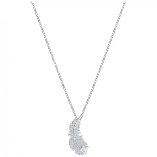 Nice Swarovski feather necklace white crystals rhodium plating 5482914