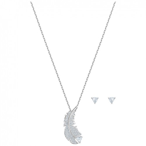 Nice Swarovski set white crystals rhodium plating 5506758
