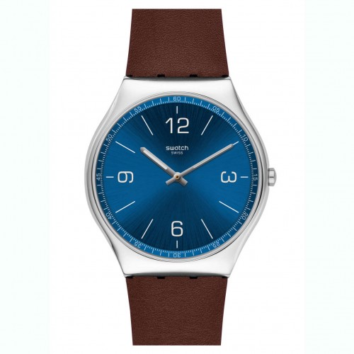Swatch Irony SKINWIND watch blue dial brown leather strap SS07S101