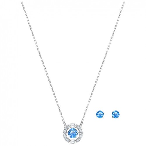 Swarovski Sparkling Dance Round set Blue Rhodium plated 5480485